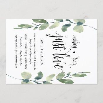 greenery eucalyptus,  black ink, wedding elopement invitation
