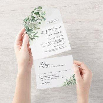 greenery eucalyptus leaves wedding (no env needed) all in one invitation