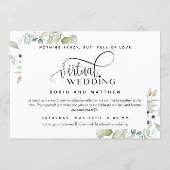 greenery foliage, online virtual wedding invitation