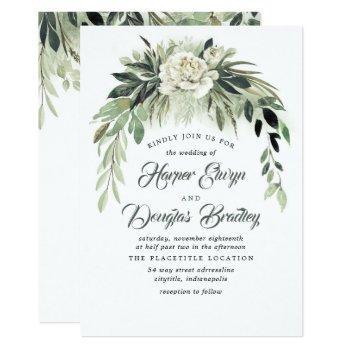 greenery garland and white peony vintage wedding invitation