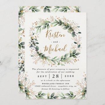 greenery gold elegant watercolor boho leaf wedding invitation