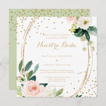 greenery & gold geometric elegant  spanish wedding invitation
