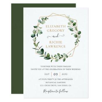 greenery gold geometric frame elegant wedding invitation