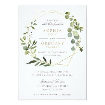 Small Greenery Gold Geometric Frame Elegant Wedding Invitation Front View