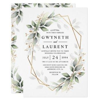 greenery green and gold geometric rustic wedding invitation