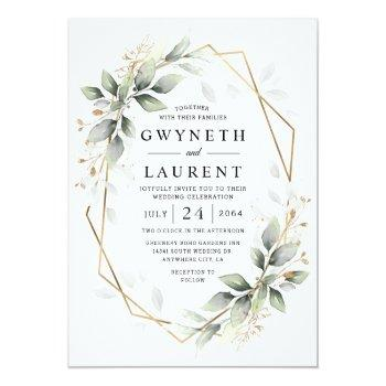 Small Greenery Green And Gold Geometric Rustic Wedding Invitation Front View