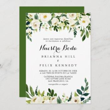 greenery white autumn floral nuestra boda wedding invitation