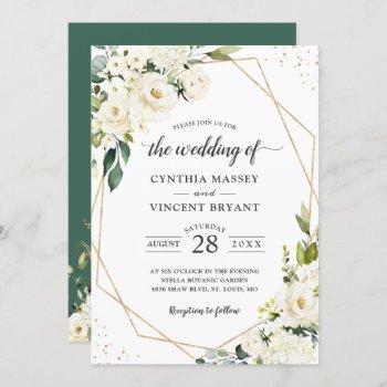 greenery white floral gold geometric wedding invitation