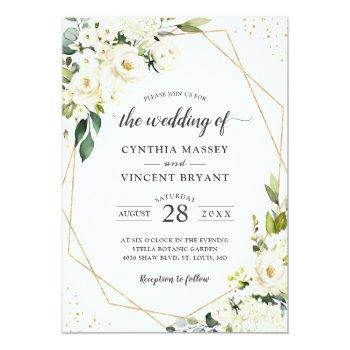Small Greenery White Floral Gold Geometric Wedding Invitation Front View