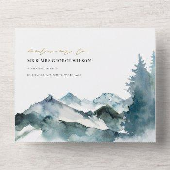 grey blush green blue mountains pine wedding all in one invitation