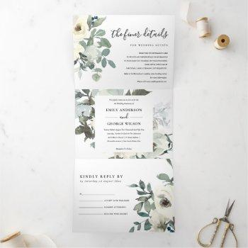 grey ivory white floral watercolor bunch wedding tri-fold invitation