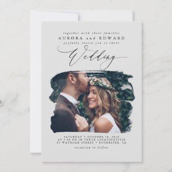 grey modern stylish boho wedding photo invitation
