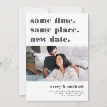 grey | modern wedding postponement photo save the date