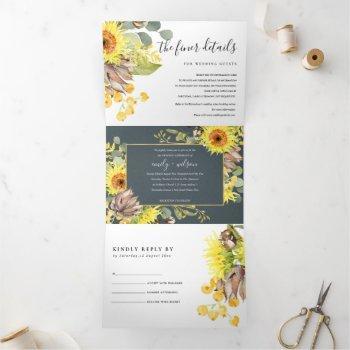 grey sunflower eucalyptus watercolor flora wedding tri-fold invitation