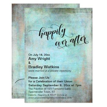 grunge aqua happily ever after wedding reception invitation
