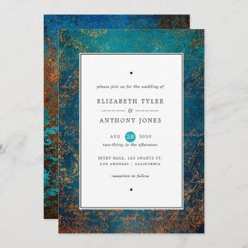 grunge copper patina and turquoise wedding invitation