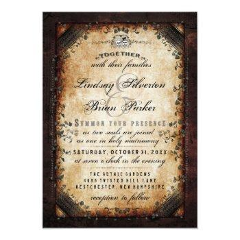 "halloween brown gothic ""together with"" reception invitation"