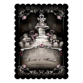 "halloween cemetery love ""together with"" wedding invitation"