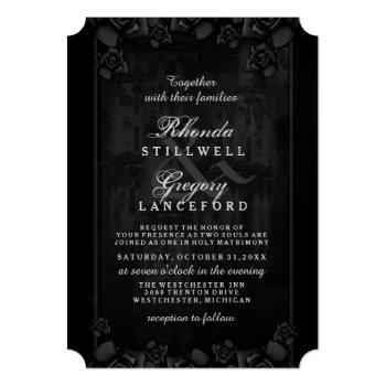 Small Halloween Elegant Love Silhouette Together With Invitation Back View