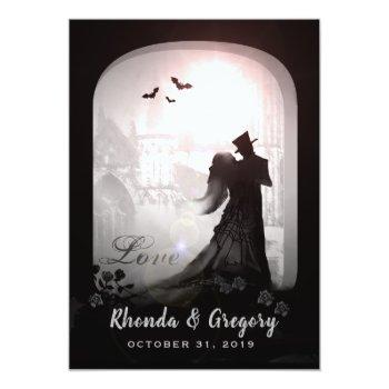 Small Halloween Elegant Love Silhouette Together With Invitation Front View