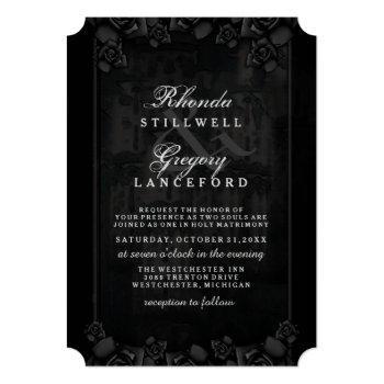 Small Halloween Elegant Love Silhouette Wedding Invite Back View