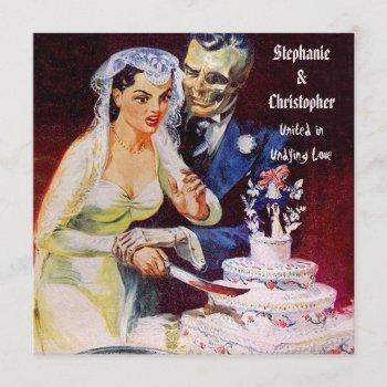 halloween horror bride & doom undying love wedding invitation