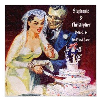 halloween horror bride & doom undying love wedding invitation