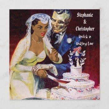 halloween horror ethnic bride and doom wedding invitation