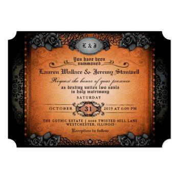 halloween orange black roses gothic wedding invite