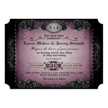 Small Halloween Purple Black Roses Gothic Wedding Invite Front View