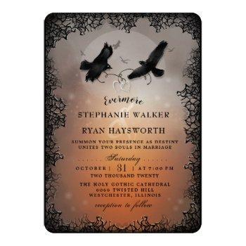 halloween ravens and hearts evermore wedding invitation