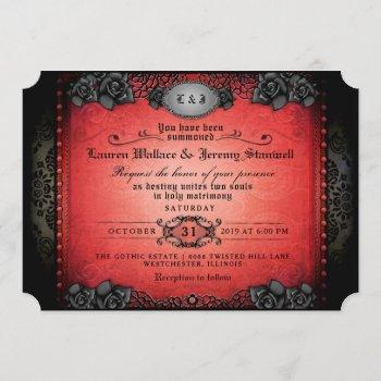 halloween red & black gothic wedding reception invitation