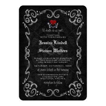 """halloween skeletons """"til death"""" & """"together with"""" invitation"""