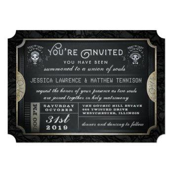 halloween ticket union of souls wedding invitation
