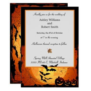 halloween wedding invitation flat card spooky bats