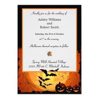 halloween wedding invitation flat card spooky bats