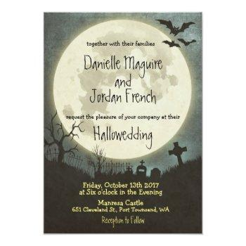 halloween wedding invitation with moon, cemetery