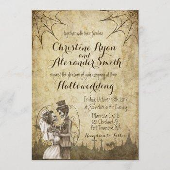 halloween wedding invitation with skeleton couple