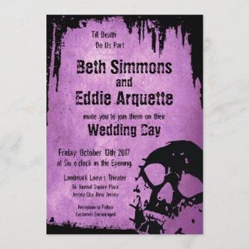 halloween wedding invitation with skull