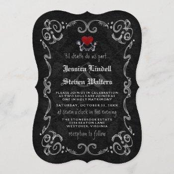 "halloween wedding ""til death"" skeletons & heart invitation"
