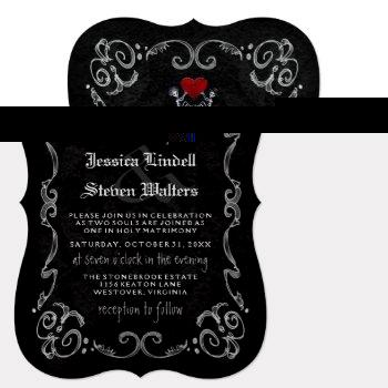 "halloween wedding ""til death"" skeletons & heart invitation"