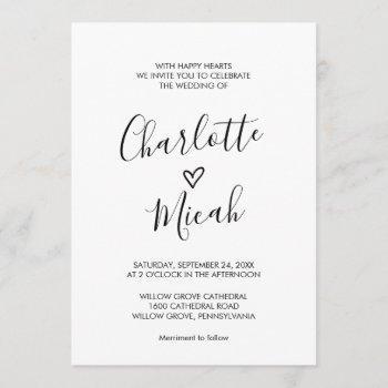 hand drawn heart the wedding of invitation