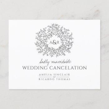 hand drawn leaf wedding cancelation dark gray announcement postcard