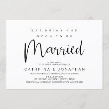 hand lettered, black script, engagement party invitation
