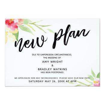"handwriting ""new plan"" floral postponed wedding invitation"
