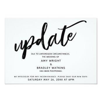 handwriting postponed wedding announcement update