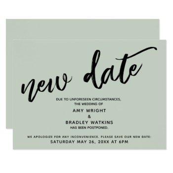 handwriting postponed wedding update sage card