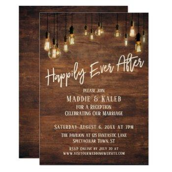 happily ever after brown wood wall edison lights invitation