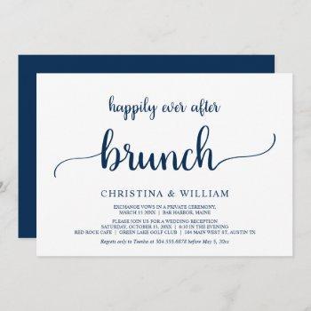 happily ever after brunch, elopement, navy blue invitation