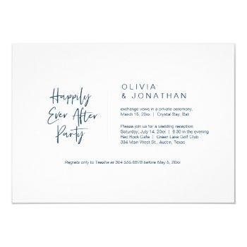 happily ever after party, navy blue, elopement invitation
